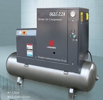 Screw air compressor integraed air dryer and receiver tank