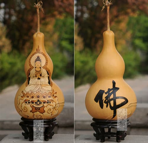 HUYIXUAN Natural Gourd Delicate Pyrography Of Kwun Yam