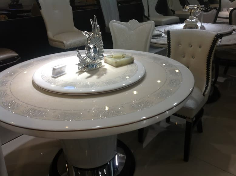 round marble dining table with Lazy Susan from Ntuple Furniture Co ...