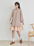 Dress_ Pleated_ Midi_Length_ Long Sleeve