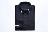 BLACK TWO LINES COLLAR SHIRTS-S15F09BL-