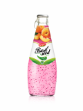 Wholesale Fruit Juice Basil seed drink Peach flavour in Glas