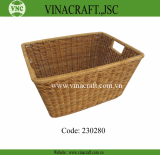 Rattan laundry basket with big rim