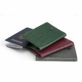 Alligator Embossed Calf Skin Passport Case Travel Wallet