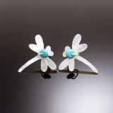 Dragon Fly White Earring
