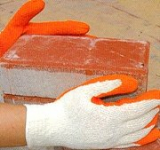 Cotton String Knit Gloves with Orange Rubber Coating