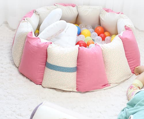 A Fabric Ball Pool-Pink and beige-