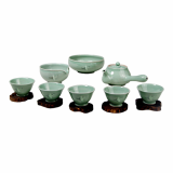 Gangjin Tamjin Celadon _Lacquered Celadon Lotus Tea Set for