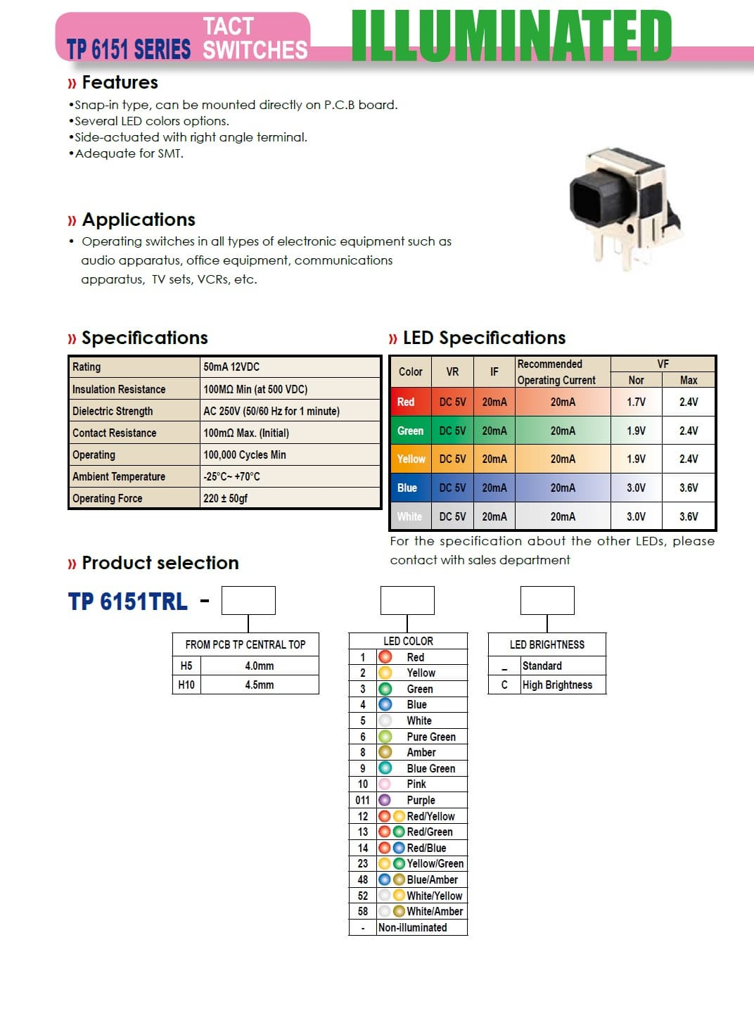 TP6151TRL SERIES ILLUMINATED TACT SWITCHES from HIGHLY ELECTRIC CO ...