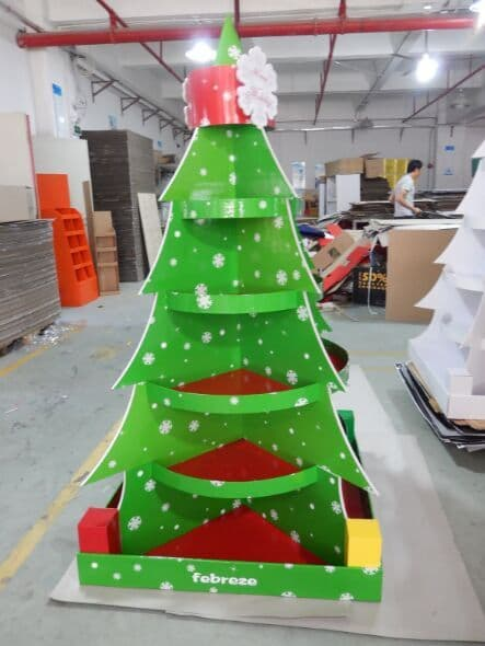 Christmas Tree Cardboard Floor Display Stand Full Color Prin