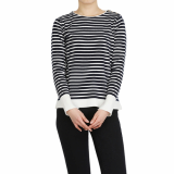 Marine look stripe knit with black and navy