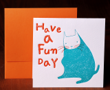 Handmade Letterpress Card with Cat, Greeting Card including Envelopes_1.jpg