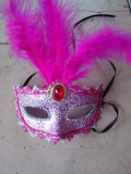 Masquerade Half Face Lace Party Mask With Feather
