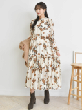 Dress_ Long Dress_ Floral Pattern_ Pleated
