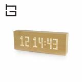 square digital wooden LED alarm clock