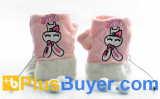 Fingerless Gloves for Women (USB Heated, Pink and White)