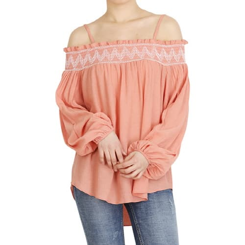 Cotton needlework off the shoulder style blouse with peach_