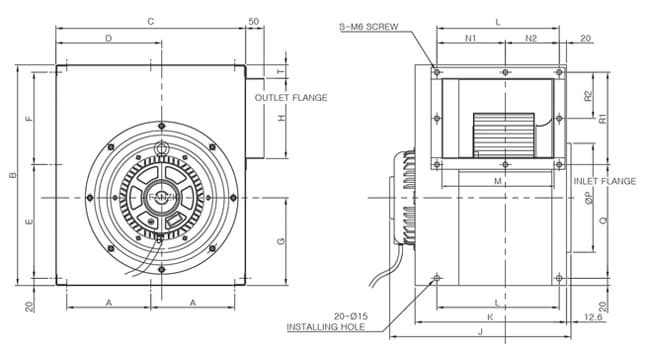 Fanzic-large centrifugal ventilator drawing