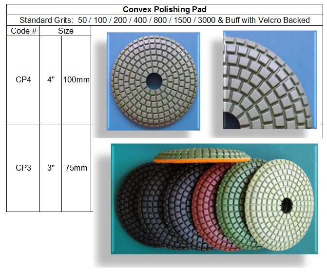 Convex Polishing Pad are designed for curved stone polishing jobs