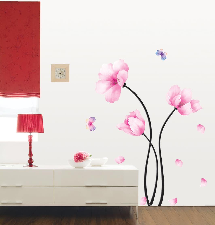Цветы для декора стен обоями