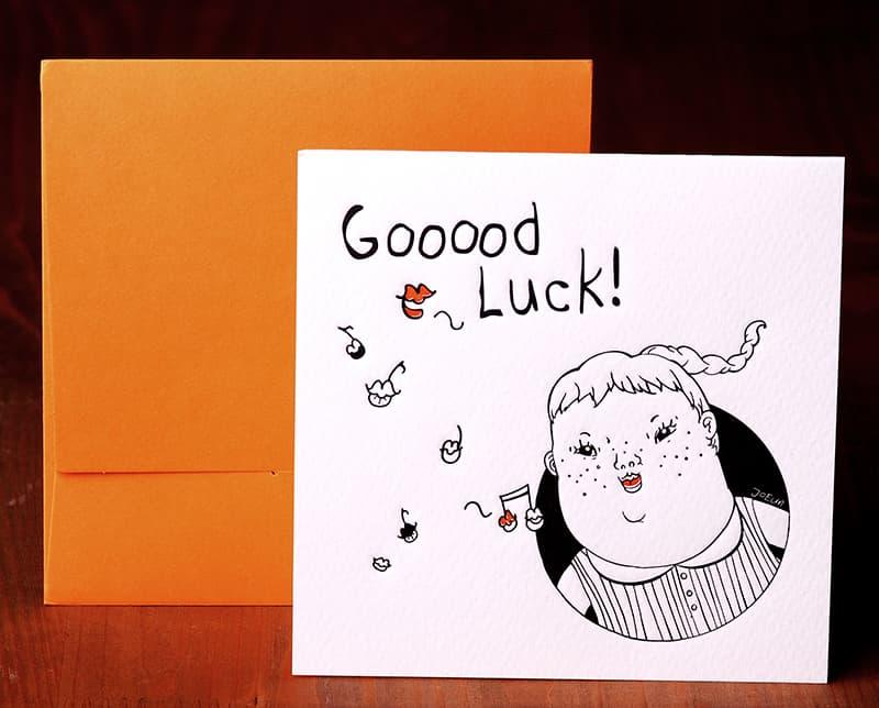 Handmade Letterpress Card, Good Luck Card including Envelopes_1.jpg