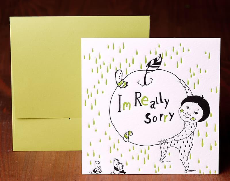 Handmade Letterpress Card, I'm Sorry Card including Envelopes_1.jpg