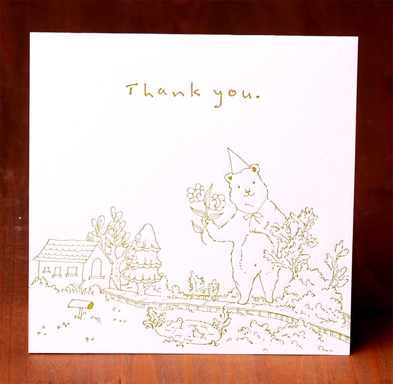 Handmade Letterpress Card with Bear, Thank You Card including Envelopes_4.jpg
