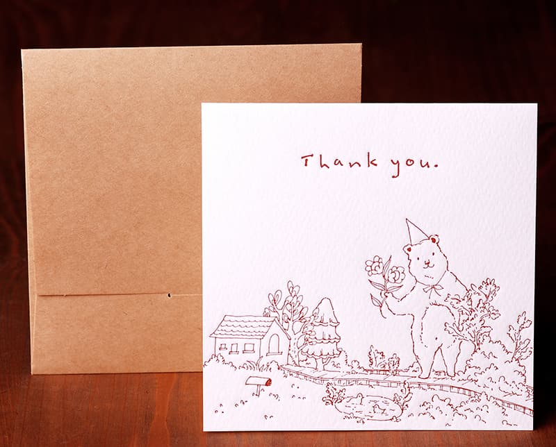 Handmade Letterpress Card with Bear, Thank You Card including Envelopes_1.jpg