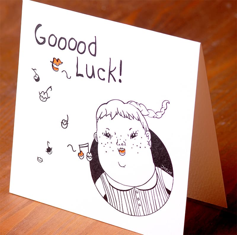 Handmade Letterpress Card, Good Luck Card including Envelopes_4.jpg