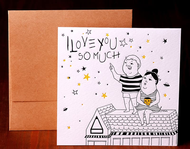 Handmade Letterpress Card, I Love You Card including Envelopes_1.jpg