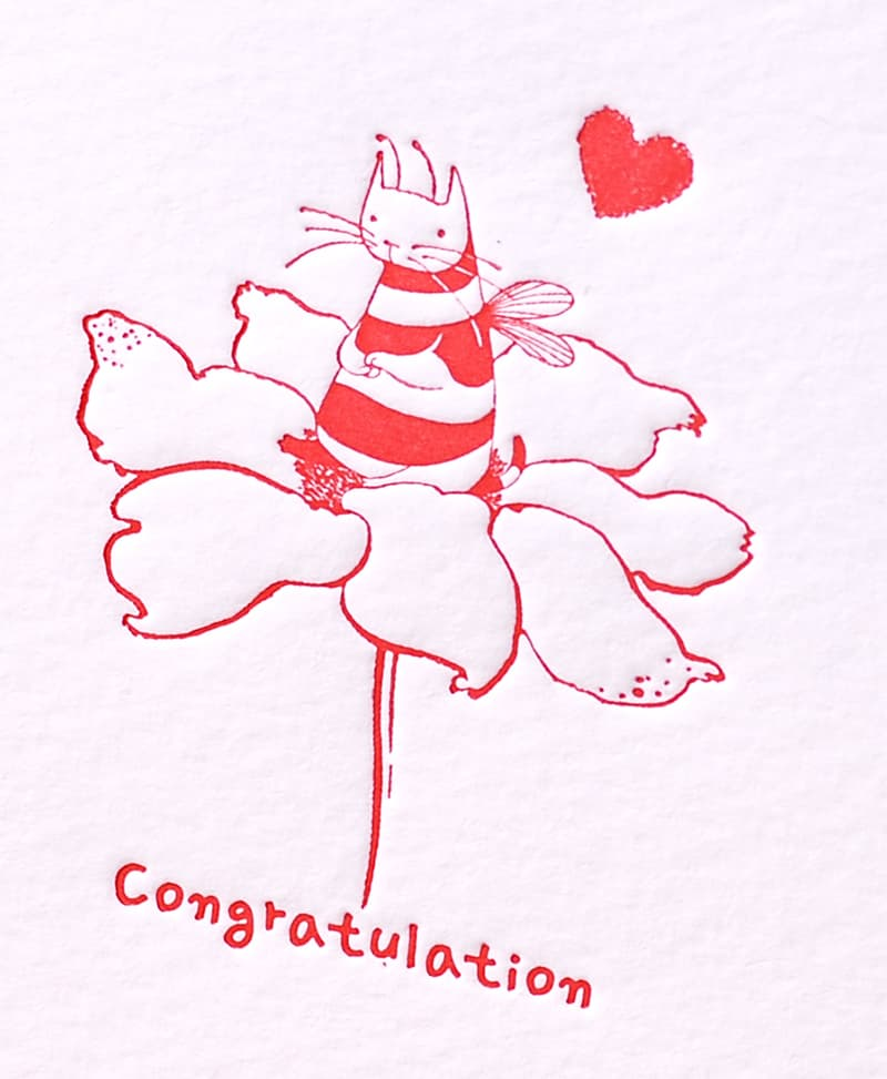 Handmade Letterpress Card with Cat Bee, Congratulation Card including Envelopes_3.jpg