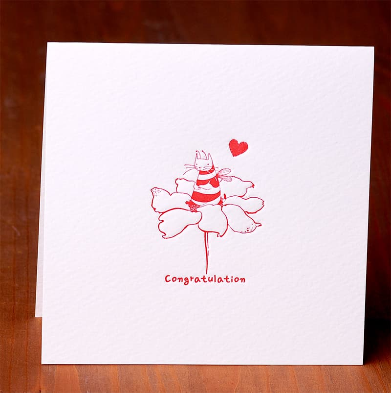 Handmade Letterpress Card with Cat Bee, Congratulation Card including Envelopes_2.jpg