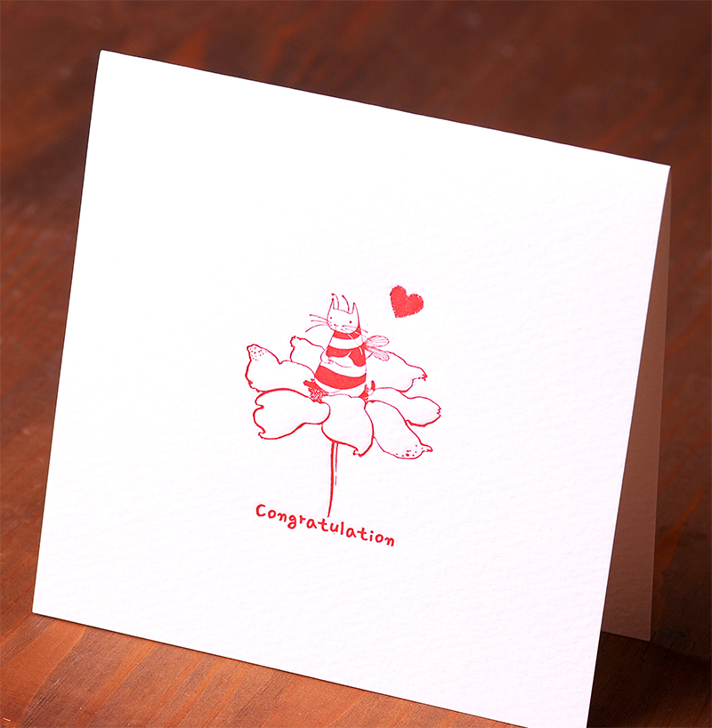 Handmade Letterpress Card with Cat Bee, Congratulation Card including Envelopes_4.jpg