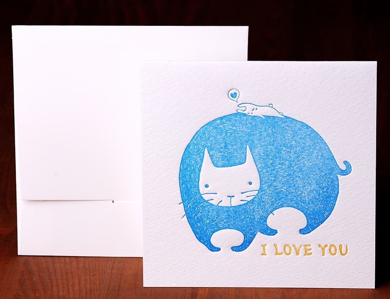 Handmade Letterpress Card with Cat, I Love You Card including Envelopes_1.jpg