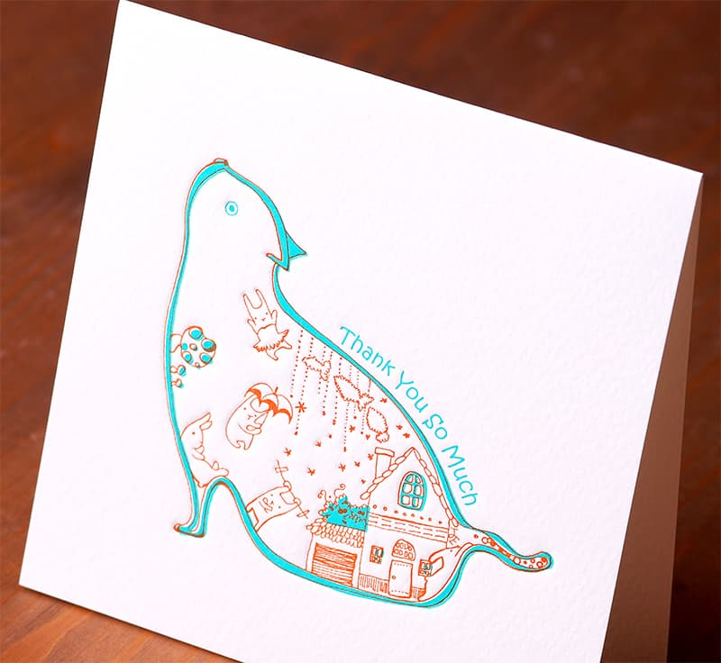 Handmade Letterpress Card with Cat, Thank You Card including Envelopes_4.jpg
