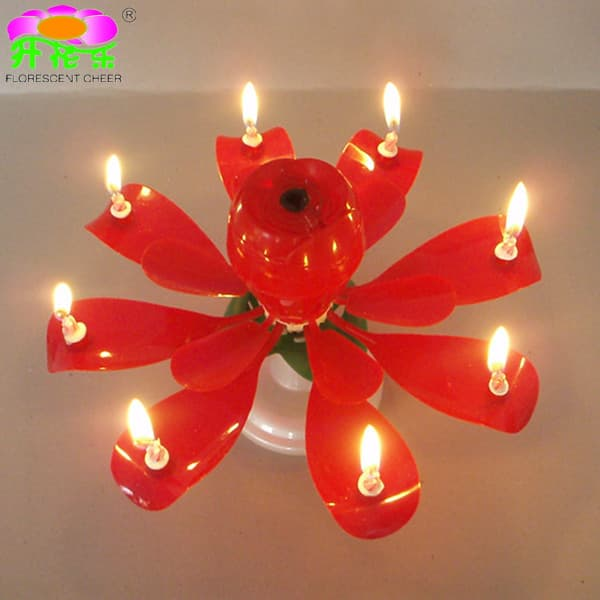 Rotating Rose Flower Music Birthday Candles