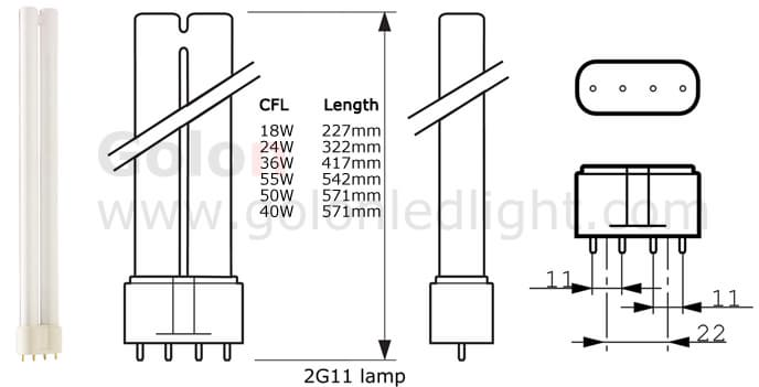 2g11 led pll lamp replacement 2g11 cfl light from golon