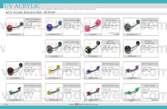 LS Body Jewelry, UV Acrylic Belly Ring with Cones