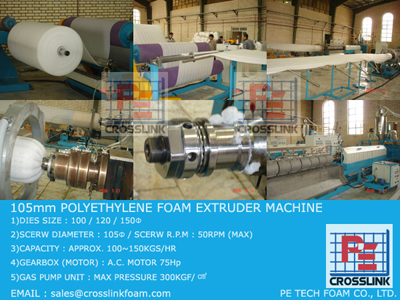 105mm, POLYETHYLENE FOAM SHEET MAKING EXTRUDER MACHINE