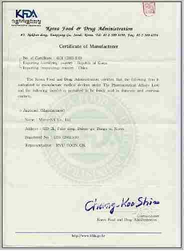 Certificate Of Manufacturer Tradekorea
