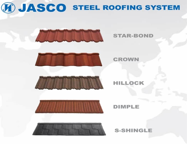 Steel roofing system from jung ang steel co inc b2b for Names of roofing materials