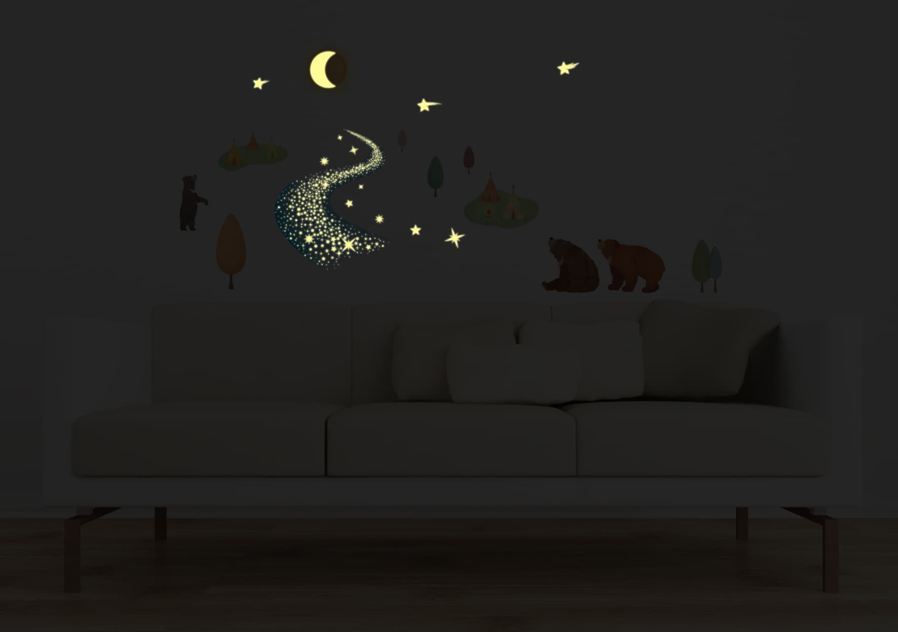 Bears and the galaxy milky way krl 20021 from kr - Stickers muraux chambre adulte ...