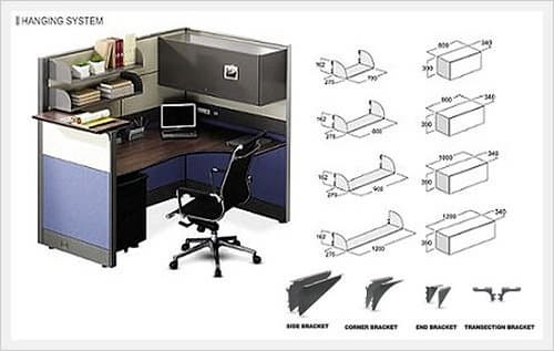 Office Partition Workstaion Hanging System Hanging Desk