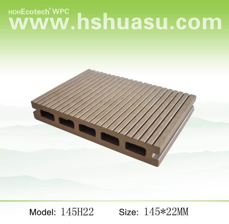 Wood plastic composite decking from huangshan huasu new for Plastic decking material