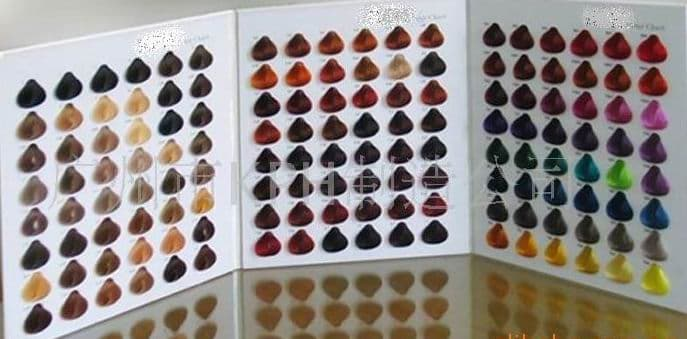 Description : 144 shades hair colour chart, three foldings,