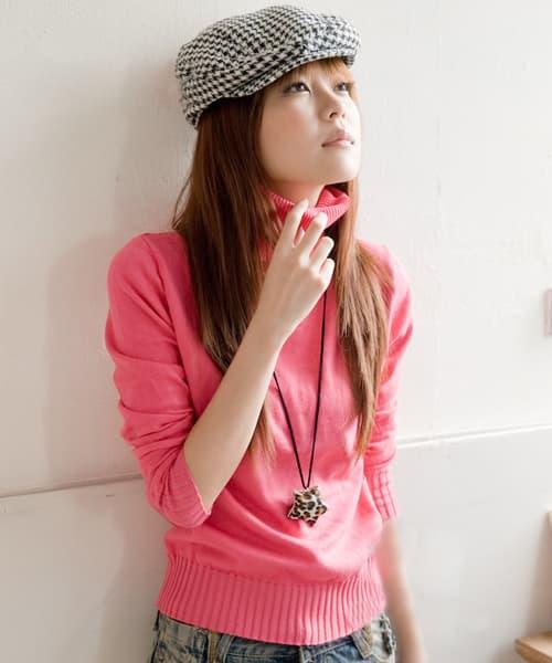 High Fashion Knitting : Red fashion high collar knitting sweater from hangzhou