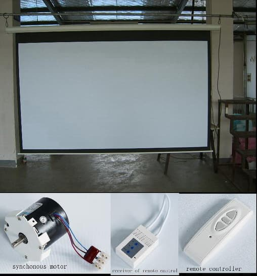 Electric projection screen manual tripod floor fixed tab for Motorized floor up screen
